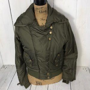 Paris Blues Olive Green Puffer Jacket Womans S